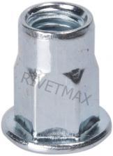 Заклепка резьбовая  полушестигранная с плоским бортом М8 L19,0 нержавеющая